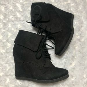 Mossimo Black Wedge Tie Up Booties Size 6